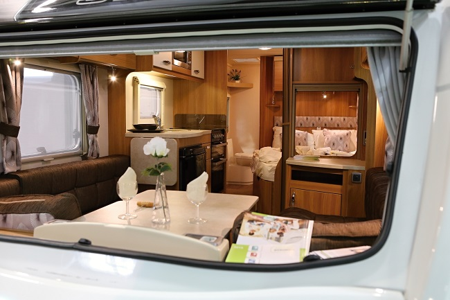 Look to the window of mobile home